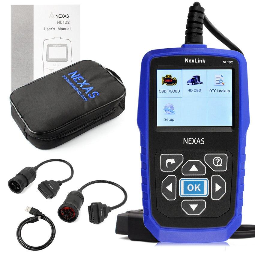 Цена за 100% Оригинал Новый Heavy Duty Truck Диагностика Дизельных Двигателей Сканер NEXAS NL102 OBD2 CAN Kit Auto Code Reader Бесплатная доставка