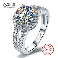 Free Shipping Wholesale Solid 925 Sterling Silver Engagement Ring Fine Jewelry 3 Carat CZ Diamond Wedding