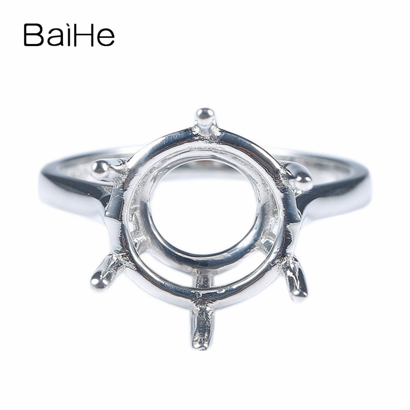 BAIHE Sterling Silver 925 Plated White Gold Engagement Wedding Semi Mount Ring 12mm Round Cut Fashion Gift Women Trendy Classic