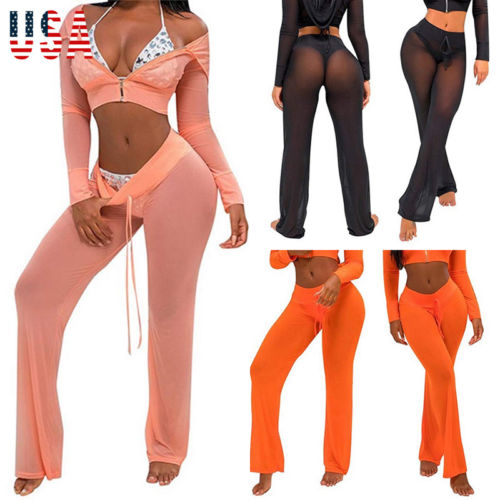 Sexy Women Evening Party Translucent Mesh Pants Sexy Hot Women Beach Mesh Trousers For Female Sexy Pants