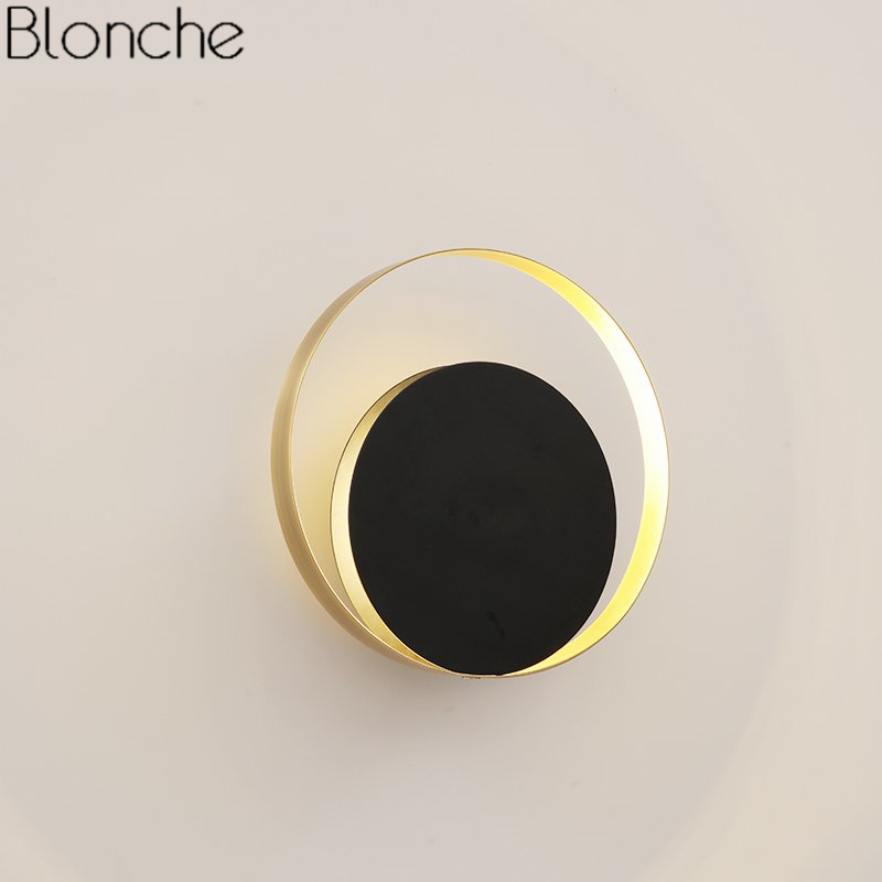 Post-modern Round Ring Wall Lamp Led Moon Light Mirror Wall Sconce for Living Room Bedroom Stair Home Decor Fixtures Luminaire