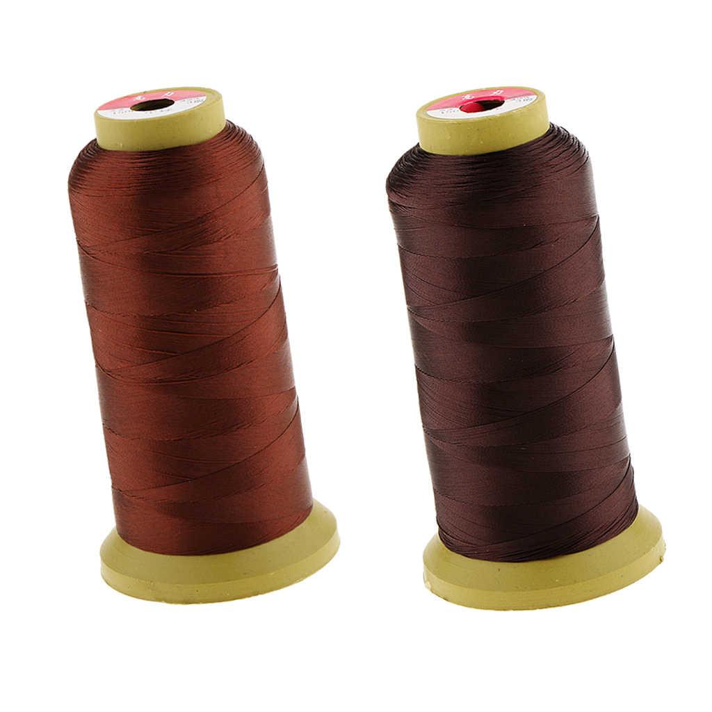 2 ロール赤ブロンズ + ダークブラウンナイロンヘアウィービングスレッドスプールかつら作る横糸ヘアエクステンション組紐