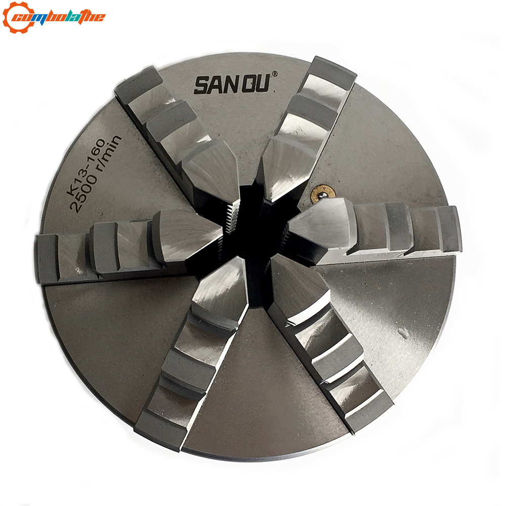 K13 160 six jaw self centering chuck 160mm lathe part with hardened steel SANOU brand