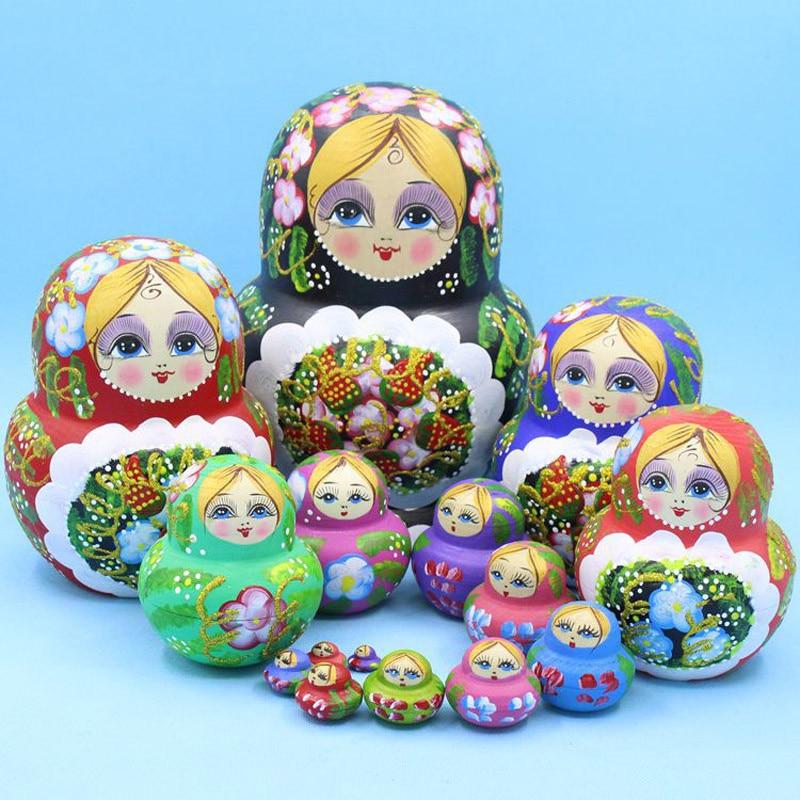 Mnotht russe nidification poupées sec tilleul fait à la main caractéristiques belle poupée de qualité supérieure en bois Matryoshka poupée jouets cadeau L30