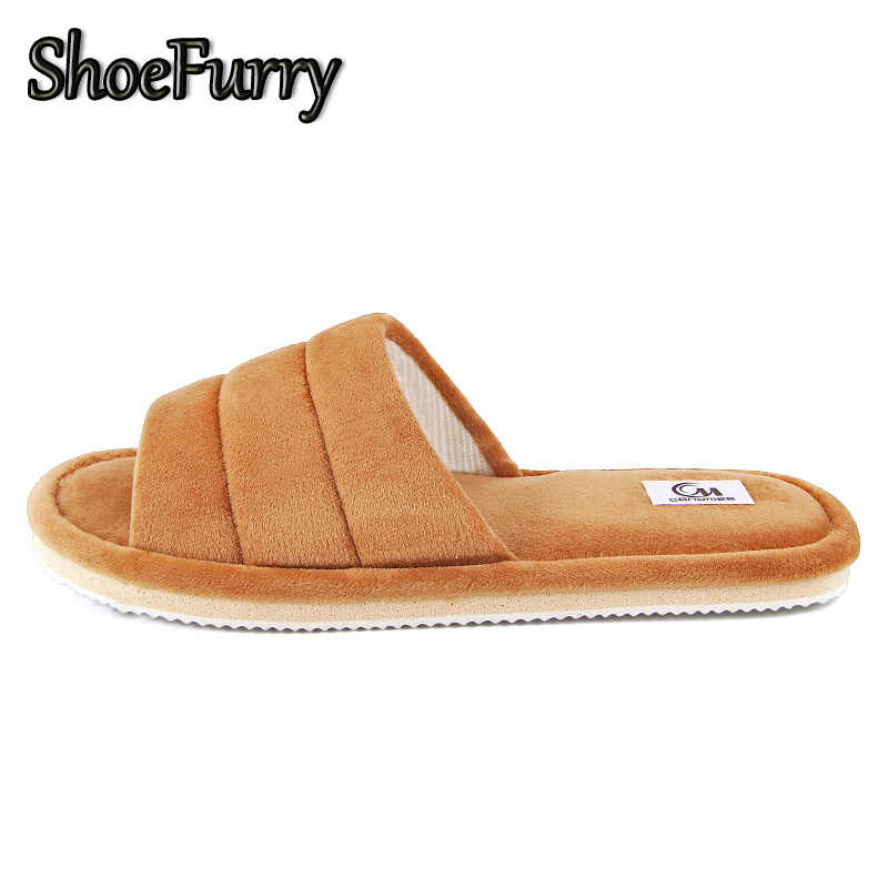 ShoeFurry Winter Men Casual Shoes Home Slippers Soft Plush Warm Cotton Shoes Male Indoor Slippers House Furry Slippers Big Size
