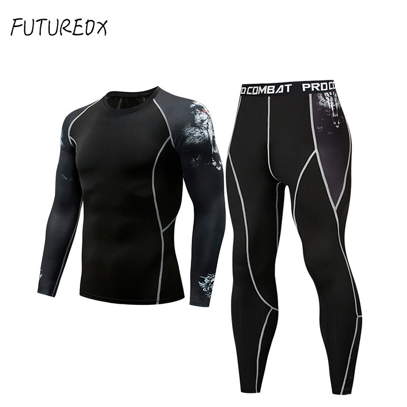 Brand Men Tracksuit Compression Shirt Leggings Sport Fitnes T-shirt  Teen Wolf Tights  Rash Garda MMA Long Sleeves Kit