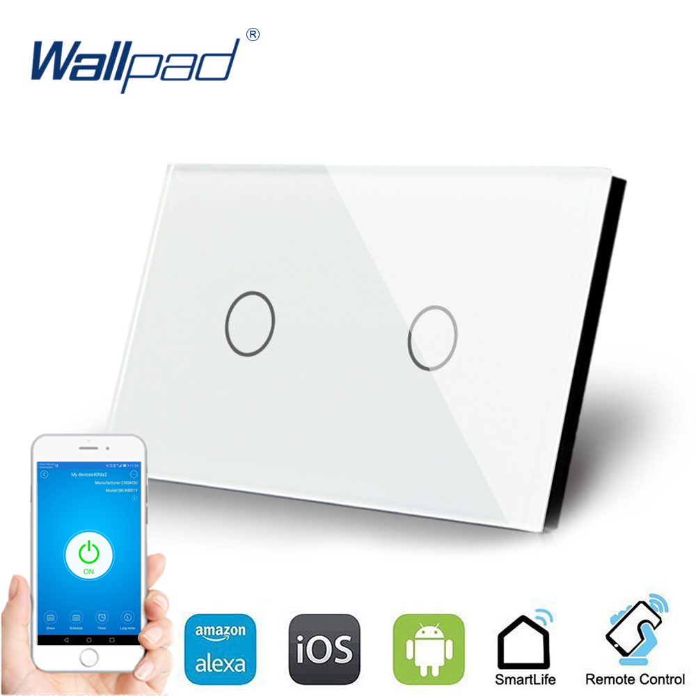 US 2 Gang WIFI Control Touch Switch Wallpad Support Smart Home Alexa Google home IOS Android 2 Gang AU Wall Switch Panel qiachip wifi smart home switch 3 gang waterproof touch panel app remote control amazon alexa google home for ios android ds25