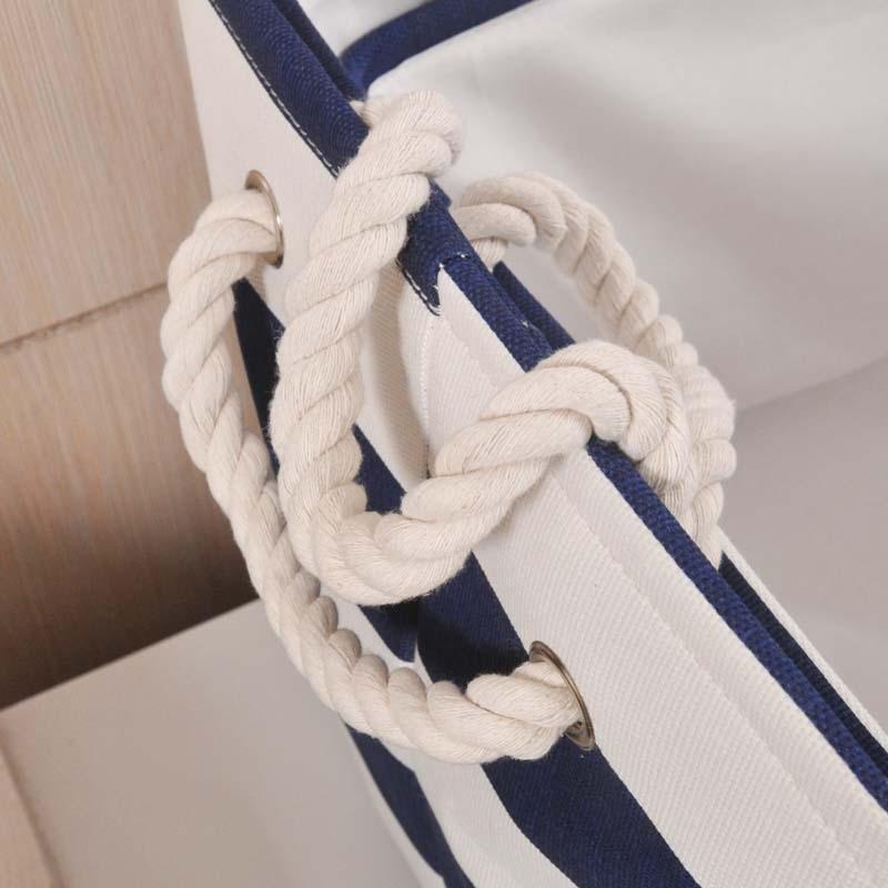 ZAKKA Estilo Azul marino Raya Lavado de ropa Lavandería Lienzo Tela - Organización y almacenamiento en la casa - foto 5