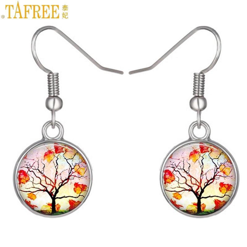 TAFREE fashion silver color tree of life drop earrings autumn style life tree women dangle earrings bridal wedding jewelry NS254