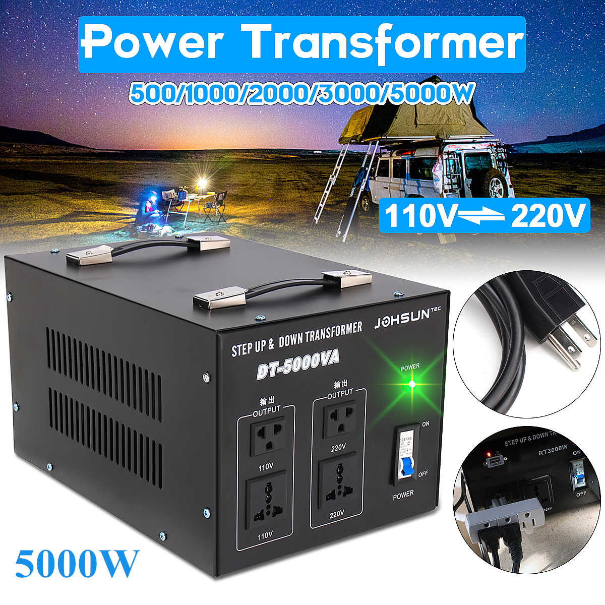 500/1000/2000/3000/5000W Heavy   Voltage Regulator Converter Power Transformer 220V auf 110V Converter