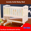 Dolphin fashion Solid wood Baby Cradle Bed Eco Friendly Solid Wood infant Bed bebe Shaking Bed Bb Bed with Roller