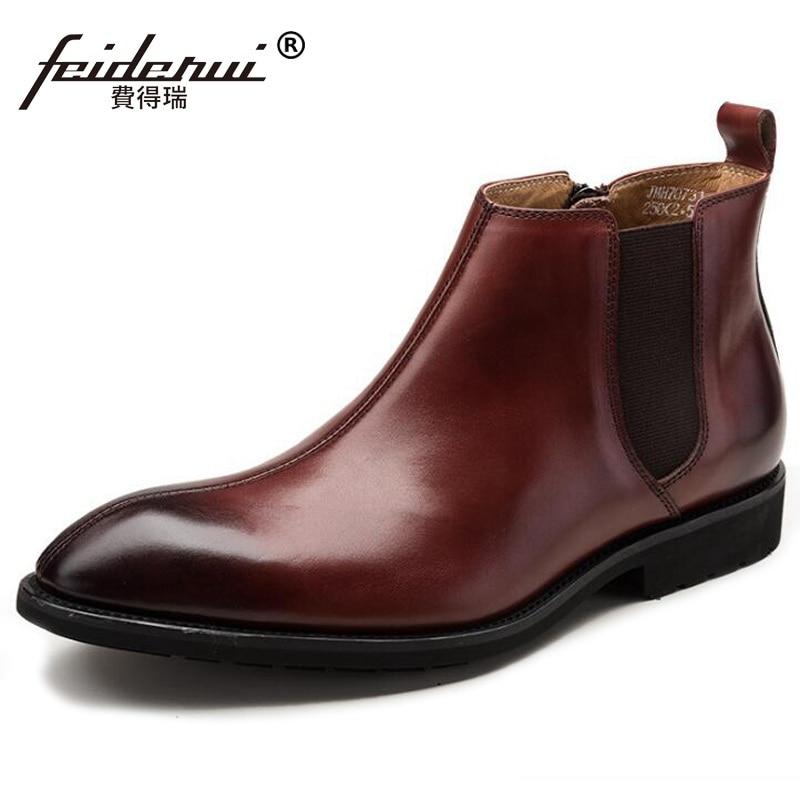 Schwarzes Schuhe Luxus brown Reiten Vk88 Designer Herren Leder Echtem Marke Chelsea Männlichen Mann Cowboy Britischen Spitze Zehe Stiefeletten XwT5IqAa