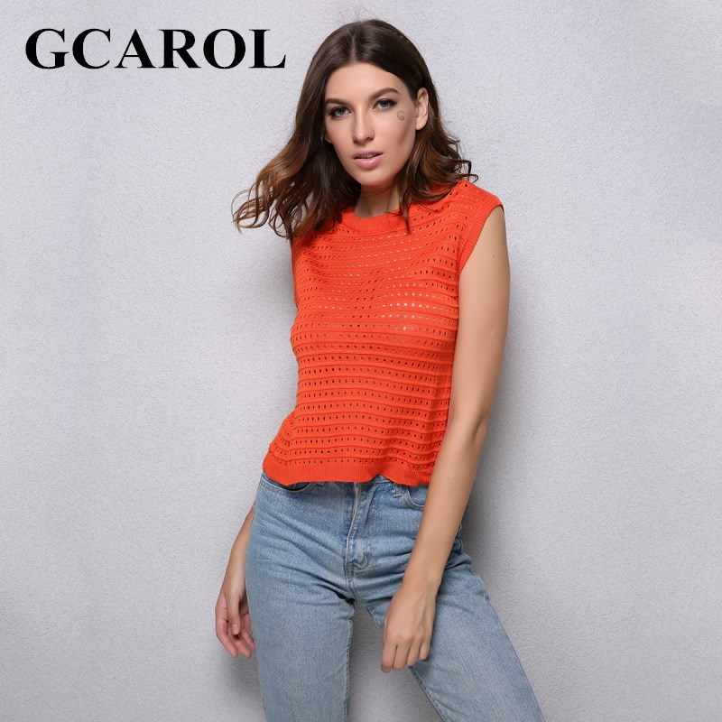 GCAROL มาถึงถัก Hollow Out เสื้อกันหนาวแขนกุดสีส้มไพลินถักเสื้อกันหนาวสำหรับฤดูใบไม้ร่วงฤดูใบไม้ผลิฤดูหนาว
