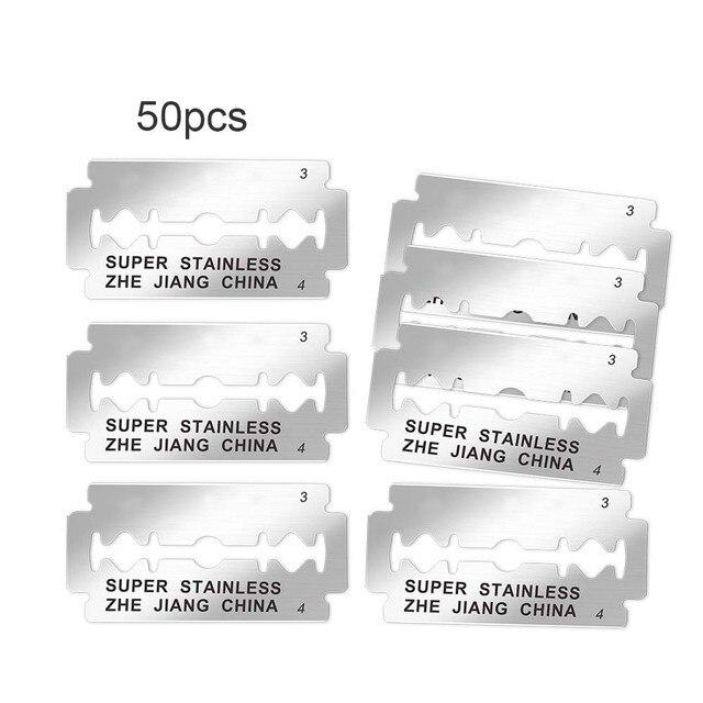 50pcs Brand Shaving Razor Blades for Men Face Clean Stainless Steel Double Edge Shaver Blades Safety Razor Blades Super Blue  1