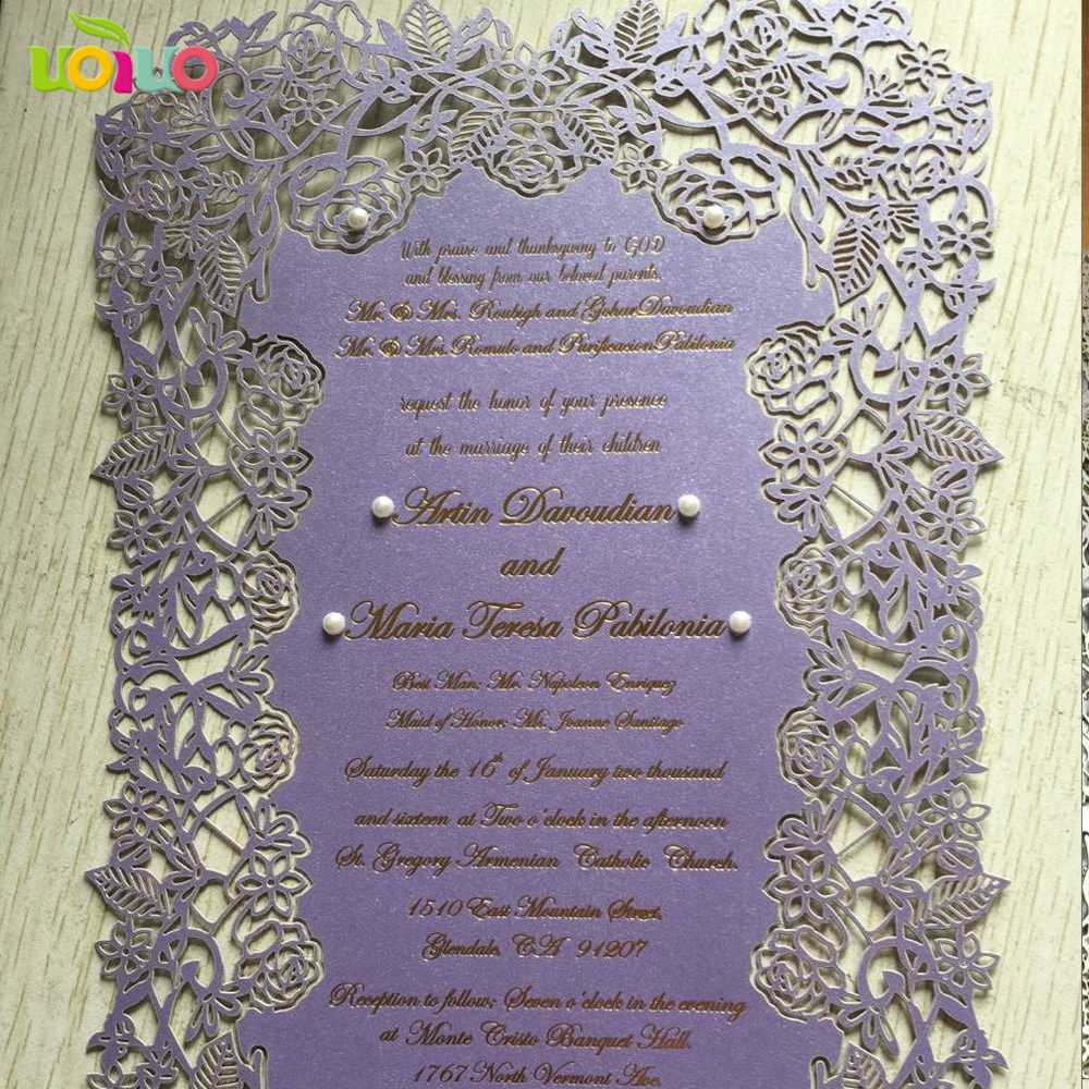 Laser Cut Flower Party Wedding Invitations Evening Invites Card Set Personalised