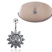 24Pcs Arrival Sunflower Smile Face Belly Button Navel Bar Ring Barbell Body Piercing Jewelry 6YR9