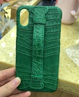 In Stock Natural Crocodile Belly Skin Real Genuine Leather Case With Holder For Iphone X Back
