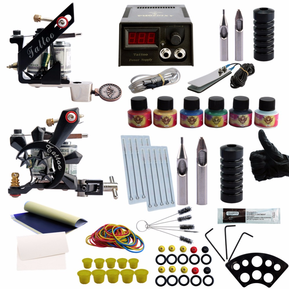 купить Professional Tattoo Kits 6 Colors ink Black Tattoo Pigment Power Supplies Accesories Permanent Makeup Complete Tattoo Set онлайн