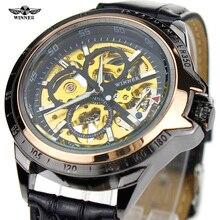 2016 Ganador Del Mens Relojes de Primeras Marcas de Lujo Retro Antiguo Mecánico de la Mano del Viento Reloj Masculino Correa de Reloj de Cuero Caja de Acero Inoxidable