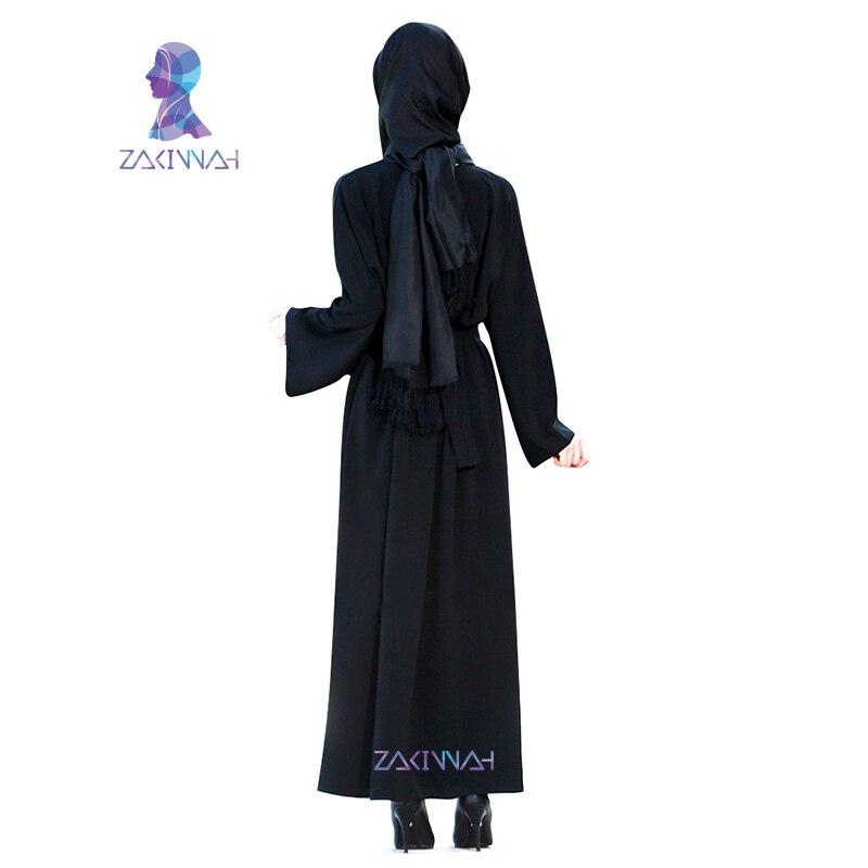 Nouvelles femmes manches longues noir Dubai robe musulmane maxi abaya - Vêtements nationaux - Photo 4