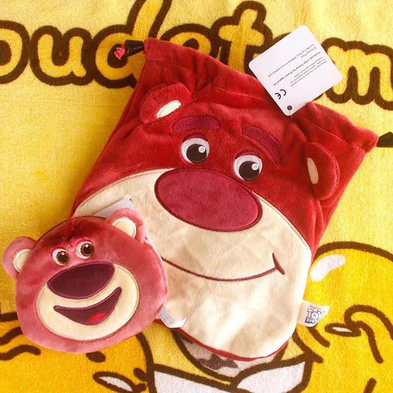 IVYYE 1PCS Lotso Bear Cheshire cat Cartoon Drawstring Bags Cute Plush storage handbags makeup bag Coin