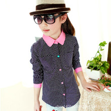 2015 New Arrival Girls Dot Shirts Spring & Autumn Children Long Sleeve Blouse 4-14 Years Brand Kids Clothes Outerwear