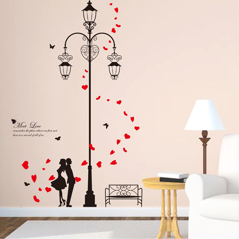 Red Love Wall Decor : Dctop meet love wall stickers home decor lovers under the