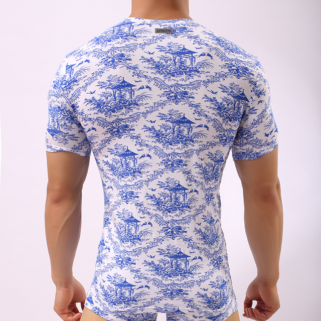 JJSOX Man Undershirts/Men Sexy Blue White Print Ice Silk Modal Bodybuilding Shirts/Gay Spandex V-neck Short Sleeves T Shirts