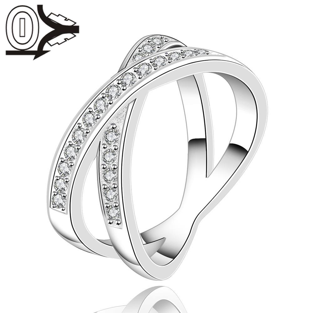 Free Shipping Wholesale Silver-plated Ring,Silver Fashion Jewelry,Women&Men Gift Round Crystal Stone Cross Silver Finger Rings