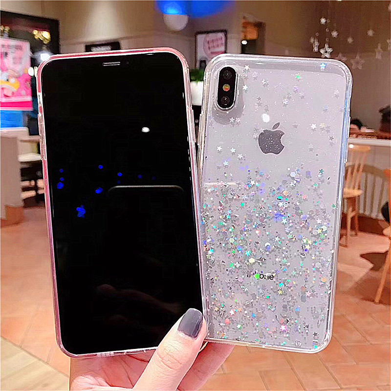 HTB1Ixczav1H3KVjSZFHq6zKppXaU - Luxury Bling Glitter Stars Sequins Case For iPhone 11 Pro XS MAX XR X Transparent Silicone Case For iphone 8 7 6 6S Plus Cover