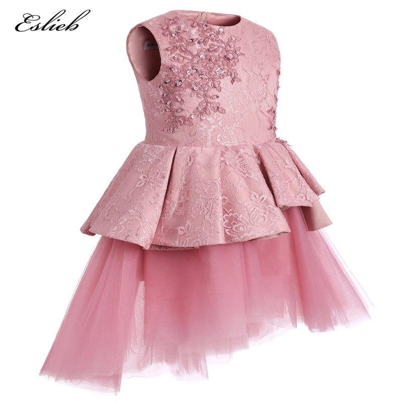 2017 सुंदर गुलाबी फीता फूल - वेडिंग पार्टी कपड़े