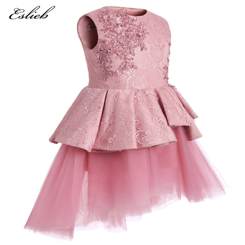 2017 Pretty Pink Lace   Flower     Girls     Dresses   Sleeveless Blue Communion   Dresses   Knee-lenth Pageant   Dresses   For Little   Girls