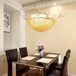 Image 3 - Led ציפור קן מודרני זהב תקרת נברשת בציר מזרחי תעשייתי נורדי זוהר סלון תליון ציפורים אורות