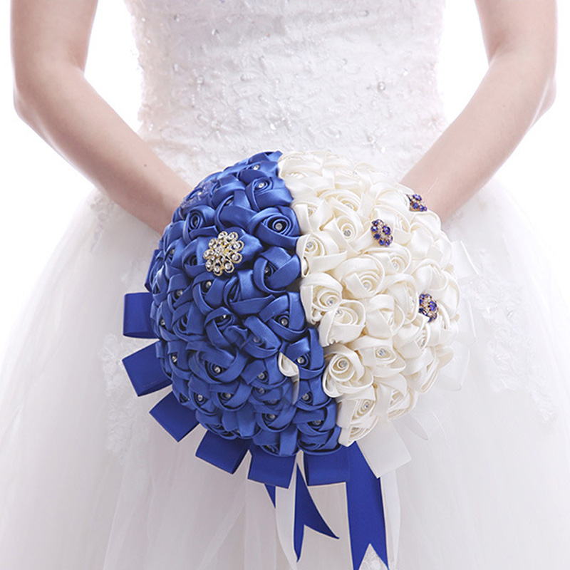 Fleur de mariage artificielle beau mariage nuptiale main Bouquet bleu blanc Bouquet pour les fournitures de fête de mariage
