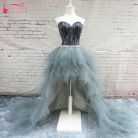 High Low Homecoming Dresses Feather Tulle Elegant Special Occasion Gowns Ruffles Graduation Gowns ZHM021