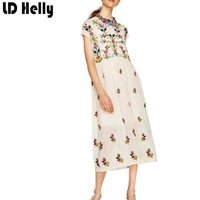 LD Helly 2017 New Summer Women Mesh Dress European Style Sweet Party Floral Embroidery Slim Sleeveless
