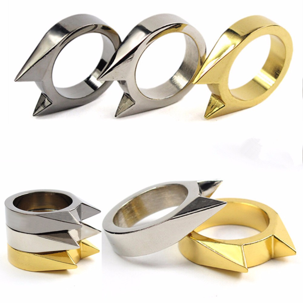5pcs/lot EDC Self Defence Women Men Safety Survival Ring Tool Stainless Steel Ring Finger Defense Ring Tool