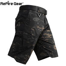 ReFire Gear Mens Camo Army Tactical Short Pants Military Combat Multi Pocket Cargo Shorts Soldier Summer Waterproof Work Shorts