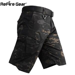 Image 1 - Refire engrenagem camo exército tático dos homens calças curtas combate militar multi bolso carga shorts soldado verão à prova dwaterproof água trabalho shorts