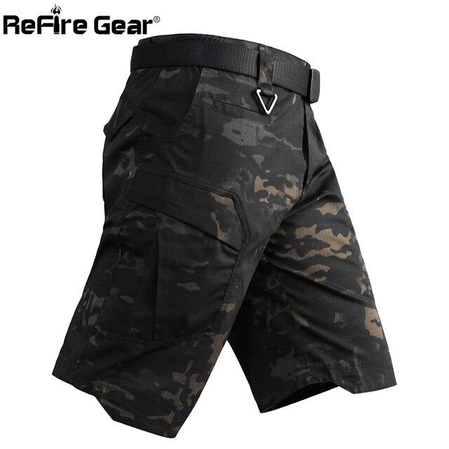Refire engrenagem camo exército tático dos homens calças curtas combate militar multi bolso carga shorts soldado verão à prova dwaterproof água trabalho shorts