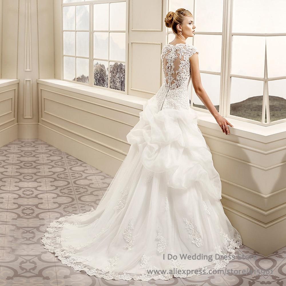 Champagne Drop Waist Ball Gown Wedding Dresses