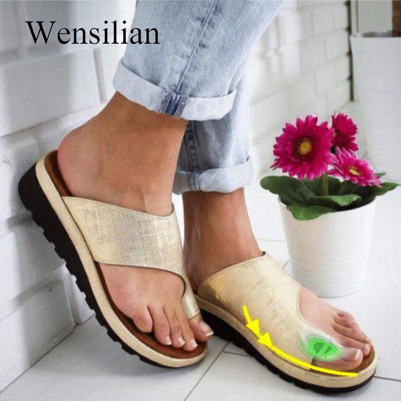 Women Comfy Platform Sandals Flat Flip Flop Casual Shoes Toe Foot Correction Sandals Orthopedic Bunion Slipplers Sandalias Mujer