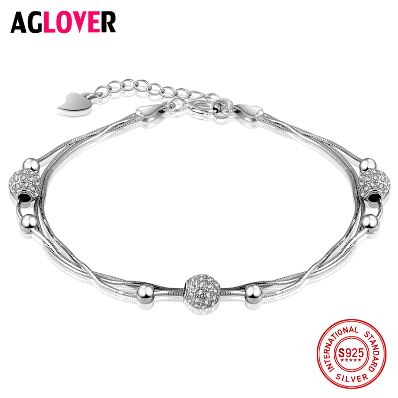 925 Sterling Silver Snake Chain Bracelet Round Beads Charm Woman Bracelet Fashion Luxury Female Silver Jewelry genuine 925 sterling silver snake charm bracelet