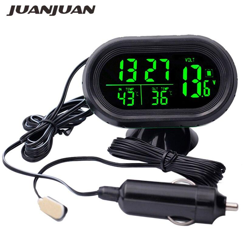 DC12V-24V Multifunktionale Digitale Stunde Meter Auto Thermometer Voltmeter Clock Auto Gauge Uhr Einfrieren Alarm Temperatur Meter 20%