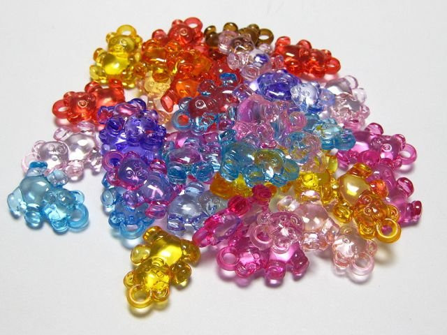 """100 Mixed Colour Acrylic Transparent Snowflake Beads Charms 15mm 0.6/"""""""