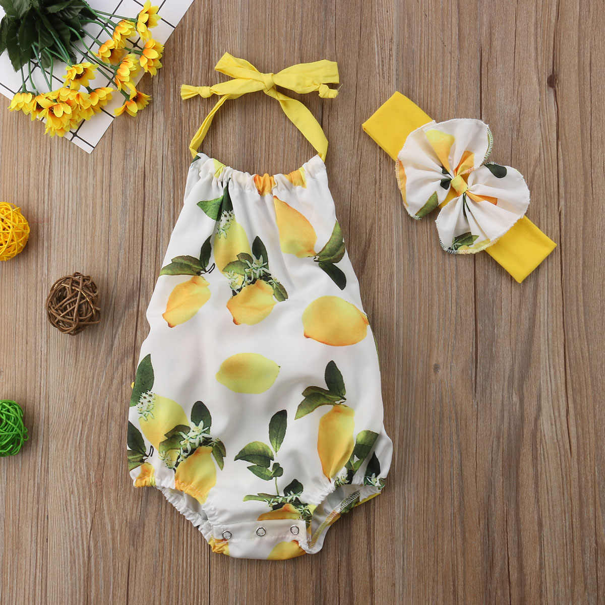 5da059248fb Detail Feedback Questions about PRINTING yellow Newborn Infant Baby Girls  Strap Mango Bodysuit Jumpsuit Outfits 0 24M sleeveless summer sweet lovely  CH on ...