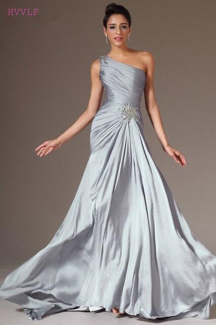 Silver Evening Dresses 2018 Mermaid One Shoulder Chiffon Beaded