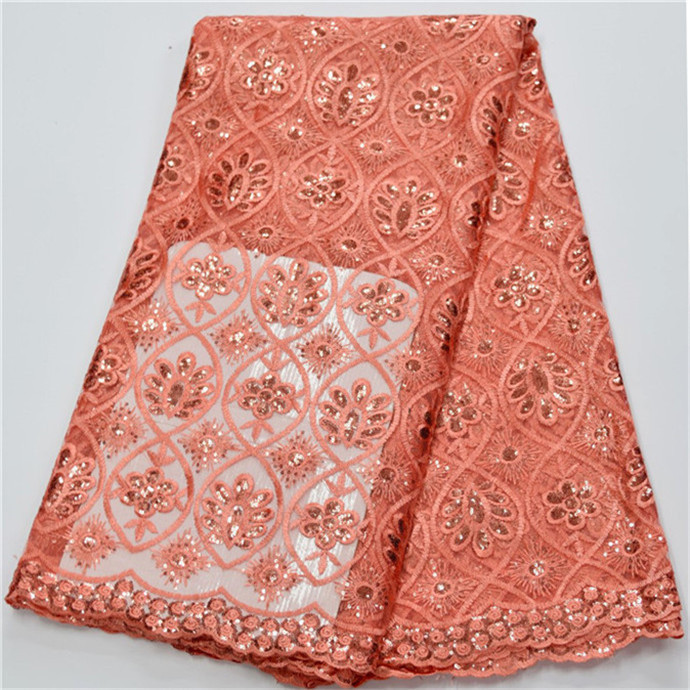 Latest style peach African Lace Fabric High Quality French Lace Fabric Fashion tulle lace fabric for