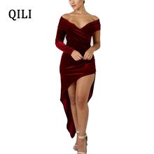 QILI Women One-Shoulder Velvet Dress Off The Shoulder Long Sleeve Wind-Red Dresses Front Rear Asymmetrical Party