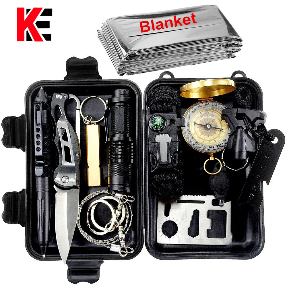 13 In 1 Camping Survival Kit Set Outdoor Travel Multifunction First Aid SOS EDC Emergency Supplies Tactical Tourism Equipment